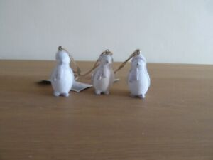 3 Penguins Christmas tree decoration - white and grey