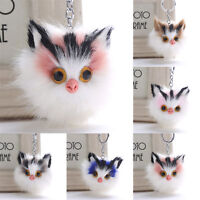 Charm Key Ring Cat Fur Ball PomPom Cell Phone Car Keychain Handbag Cute Keyrings