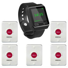 SINGCALL Wireless Service Calling Nursing System 1 Watch Receiver with 5 Bells