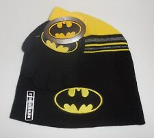 Batman Boys Knit Hat & Gloves Set OSFM Youth Black Yellow New Reversible