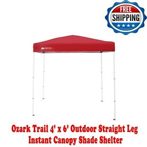 Ozark Trail 4' x 6' Outdoor Straight Leg Instant Canopy Shade Shelter Red