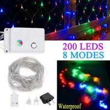 200LED RGB String Fairy Lights Net Mesh Curtain Wedding Party Xmas Garden Decor