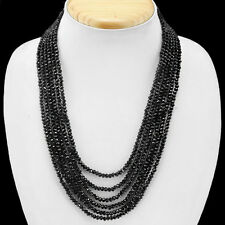 GENUINE ATTRCATIVE 223.00 CTS NATURAL 6 LINE BLACK SPINEL FACETED BEADS NECKLACE