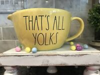 """New RAE DUNN Easter LL """"THAT""""S ALL YOLKS"""" Yellow Batter Bowl"""