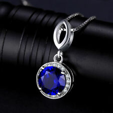 2ct Luxury Deep Blue Sapphire Necklace Pendant Solid Sterling Silver Gift
