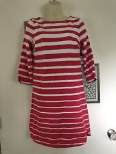 NWT Crown & Ivy Thick Cotton Knit Dress XS X-Small Pink & White Stripe Navy Trim