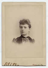 CABINET CARD  WOMAN WITH CURLY TOP HAIR. PITTSBURGH, PA.