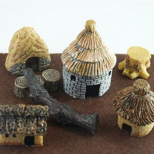 Hut Village Miniature Set  (8 pcs) Small World Collectables Fairy Gardens