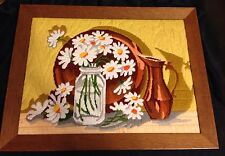 Vintage Large Completed Framed Mid Century Still life Daisey embroidery