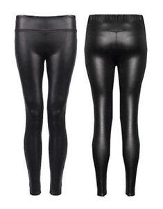 WOMENS LADIES HIGH WAIST PVC FAUX LEATHER WET LOOK  LEGGINGS PLUS SIZE 8-18