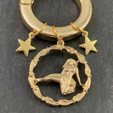 VINTAGE VIRGO STAR CHARMS ON NECKLACE PENDANT HOLDER GOLD TONE METAL HEAVY DUTY