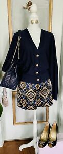 NWT Ann Taylor Loft Jacquard Blue Gold Shorts With Sweater And Earrings Size L