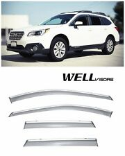 For 15-UP Subaru Outback WellVisors Side Window Visors W/ Chrome Trim