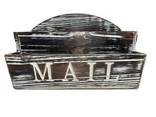 MyGift 2-Slot Rustic Torched Wood Wall Mounted Mail Sorter Office Supply Storage