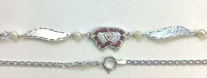 "New 14K White Gold/ DIA. Heart/RUBY 10"" Anklet -Free Engraving/Free Shipping!"