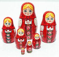 Red Matryoshka Russian Handmade Wooden Nesting Stacking Hand Painted Dolls 7pc
