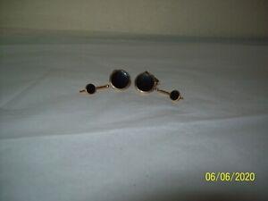 Swank Vintage Cufflinks & 2 Stud Set Black Enamel Round 1/40 - 10 K RGP Signed