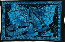 Small Tapestry Poster Table Cloth Cotton Indian Dragon Fly Sky-Blue Wall Hanging