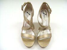 LADIES WEDGES SHOES HEELS GOLD METALLIC FORMAL DRESS WORK PIERRE FONTAINE