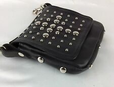 Motorcycle Biker 8x7x1.5 Bag Pouch Purse Black Leather Studs Clip-On Belt Loops