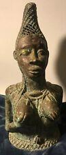 Rare Bronze African Benin Sculpture Queen Mother head statue Africa Art
