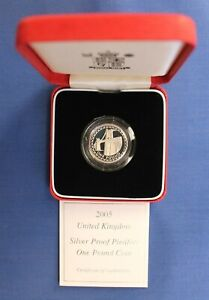 2005 Silver Piedfort Proof £1 coin in Case with COA