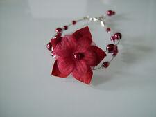 Bracelet Rouge/Bordeaux Mariéé/Mariage/Soirée p robe de perle fleur original