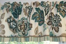 Teal Brown Cream Braemore Floral Toile Valance 16 X 54 Drapery Weight Curtain