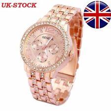 Chronograph Designer Style Geneva Ladies ROSE GOLD Women Crystals Bling Watch
