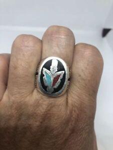 Vintage Men's Genuine Southwestern Turquoise Inlay Arrow Men's Ring Size 11.75