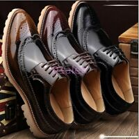 NEW Mens British Pointy Toe Brogue Wing Tip Oxfords Dress Formal Shoes Lace Up