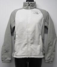 Women's The North Face White Gray Fleece Full Zip Jacket sz XS