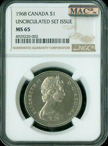 1968 CANADA $1 DOLLAR NGC MAC MS65 PQ SPOTLESS  *