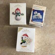 Lot Of 3 Hallmark Ornaments Penguin Polar Bear Snowman Holiday Christmas