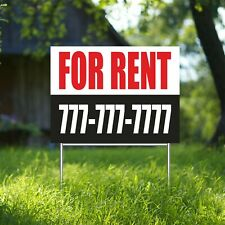 For Rent Yard Sign Corrugate Plastic With H Stakes Custom Phone Free Rental