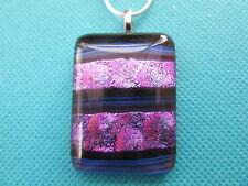 Dichroic Glass And Foil Pendant Each Piece Unique Lovely Purple On Black(nk1255)