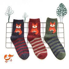 3 Pairs Ladies Womens Fashion Socks Cotton Cute Fox Creative Ankle Socks