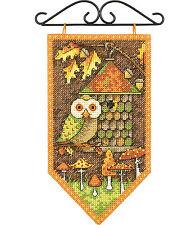 Cross Stitch Kit ~ Debbie Mumm Woodlands Birdhouse Fall Mini Banner #72-74135