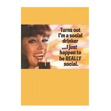 """Retro Humour """"Turns Out I'm A Social Drinker"""" Greetings Card Birthday Gift Funny"""