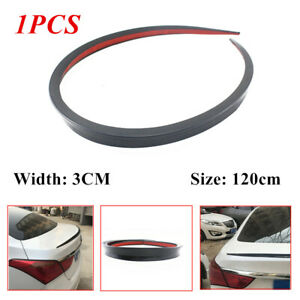 1.2M Black Flexible Soft Car Rear Roof Trunk Spoiler Rear Wing Lip Trim Sticker