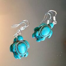 """Peruvian Turquoise """"Turtles"""" Sterling silver 925' Earrings"""