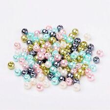 lot de 20  perles 6 mm  nacrées acryliques blanc rondes apprêt  bijoux NEUF