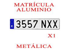 1 MATRICULA COCHE ALUMINIO LARGA NORMAL MEDIDAS 52x11 cm HOMOLOGADA ALTA CALIDAD