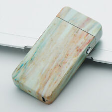USB Electric Dual Arc Flameless Torch Rechargeable Windproof Lighter Marble Wood