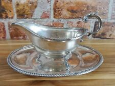 More details for mappin & webb silver plated gravy / sauce boat and saucer vintage