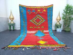 """Moroccan Handmade Vintage Rug  5'x7'7""""  Berber Geometric Red Blue Wool Carpet"""