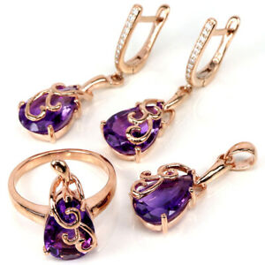 NATURAL AAA PURPLE AMETHYST PEAR & WHITE CZ STERLING 925 SILVER SET SIZE 7