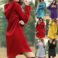 Women Dress Tops Sweater Sweatshirt Long Hooded Sleeve Pullover Hoodie Jumper