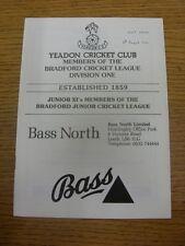 04/08/1990 programa de Cricket: Yeadon V Spen Victoria (fecha señaló en frente). Tha