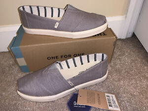 Women's TOMS Morning dove heritage canvas cupsole grey shoes Size 8 New
